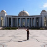Lucy, enthralled by the Museum of Turkmenbashi