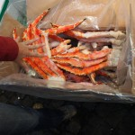 Extraordinarily huge crab legs (Lucy's hand is for scale - she isn't going for the stealth sashimi grabbing manoeuvre)