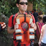 Looking rather worried, until I realise that this is a baby's lifejacket