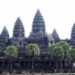 View of Angkor Wat cutting out the annoying green scaffoldng. Grrrrrr, there was scaffolding here last time, too
