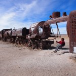 Uyuni's train cemetery. Why there's swings I have no idea, but no complaints from me!