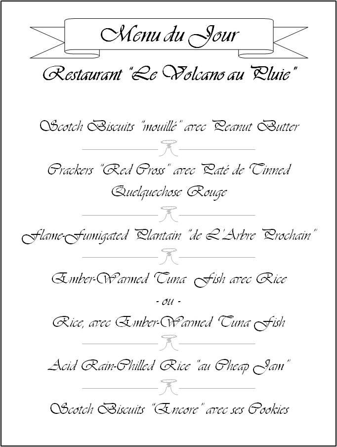 """Menu - Restaurant """"Le Volcano au Pluie"""""""